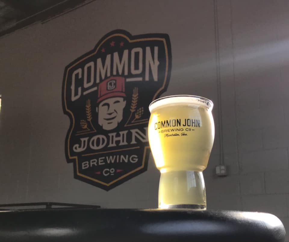 Finally, a Common John beer in a Common John glass in the Common John brewery. A mom…
